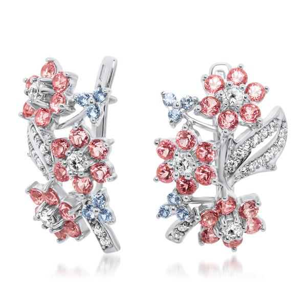 875 Silver Earrings With Pink Topaz, White Topaz - My Super Hot Deals