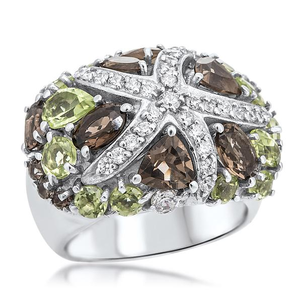 875 Silver Ring With Smoky Quartz, Peridot - My Super Hot Deals