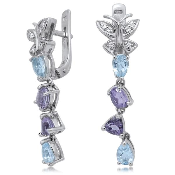 875 Silver Earrings With Amethyst, Blue Topaz - My Super Hot Deals