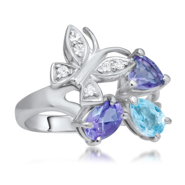 875 Silver Ring With Amethyst, Blue Topaz - My Super Hot Deals