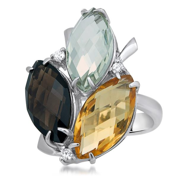 875 Silver Ring With Smoky Quartz, Prasiolite, Yellow Citrine - My Super Hot Deals