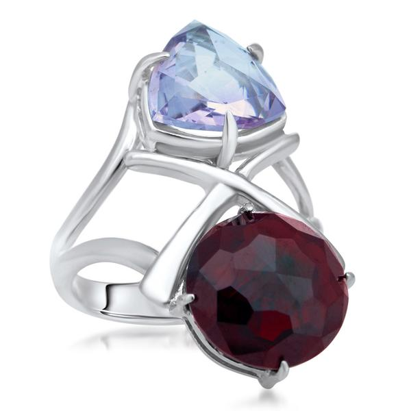 875 Silver Ring With Garnet, Amethyst - My Super Hot Deals