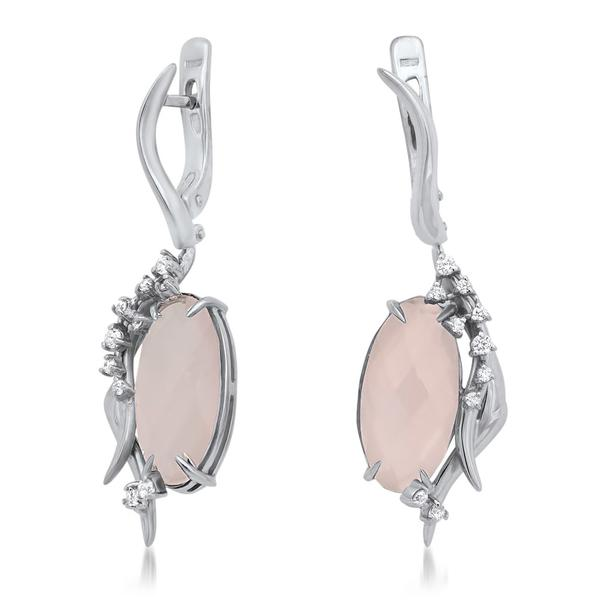 875 Silver Earrings With Pink Quartz - My Super Hot Deals