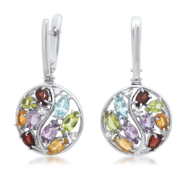 925 Silver Earrings With Amethyst, Yellow Citrine, Garnet, Peridot, Blue Topaz - My Super Hot Deals