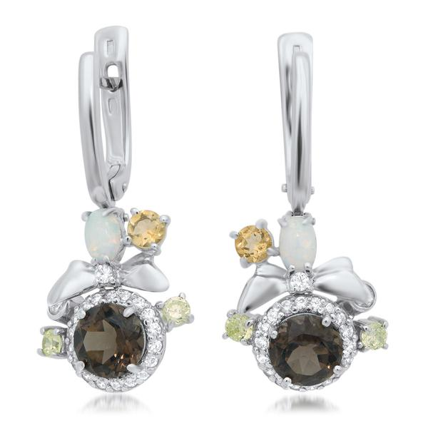 875 Silver Earrings With Smoky Quartz, White Opal - My Super Hot Deals