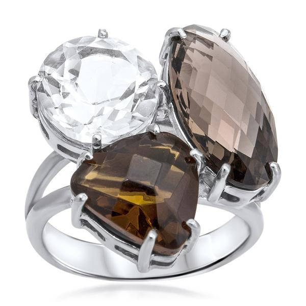 925 Silver Ring With Smoky Quartz, Rock Crystal - My Super Hot Deals
