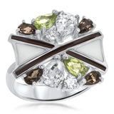 925 Silver Ring With Peridot, Smoky Quartz, Brown Enamel, White Enamel - My Super Hot Deals