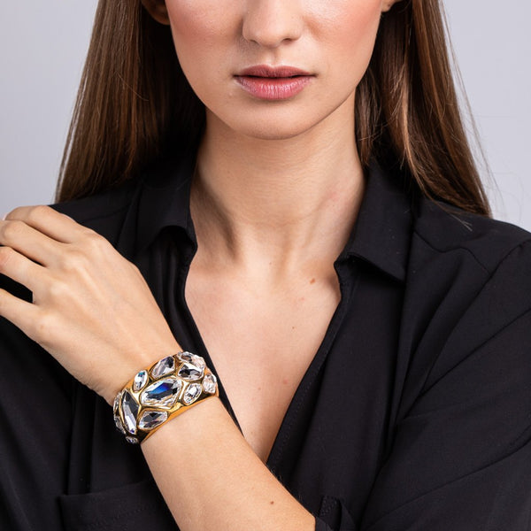 Clear Faceted Stones on Gold Cuff Bracelet - Kenneth Jay Lane - My Super Hot Deals