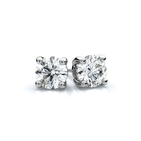 GOLD STERLING SILVER 4 PRONGS DIAMONDS STUDS EARRINGS - My Super Hot Deals