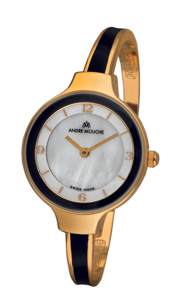 ANDRE MOUCHE - Tara 18cts Gold Plated Handmade Women Swiss Watch in Black - My Super Hot Deals