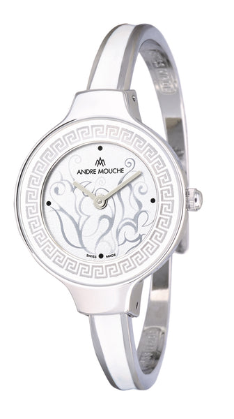ANDRE MOUCHE - Athena 18cts Palladium Plated Handmade Women Swiss Watch in White - My Super Hot Deals
