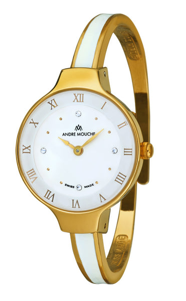 ANDRE MOUCHE - Aura 18cts Gold Plated Handmade Women Swiss Watch in White - My Super Hot Deals
