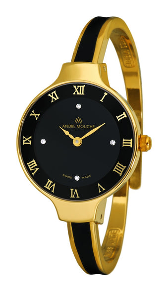 ANDRE MOUCHE - Aura 18cts Gold Plated Handmade Women Swiss Watch in Black - My Super Hot Deals