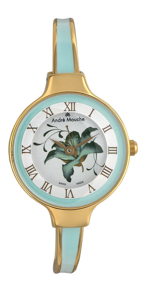 ANDRE MOUCHE - Gracia 18cts Gold Plated Handmade Women Swiss Watch in Green - My Super Hot Deals