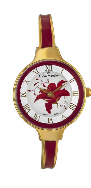ANDRE MOUCHE - Gracia 18cts Gold Plated Handmade Women Swiss Watch in Bordeaux - My Super Hot Deals