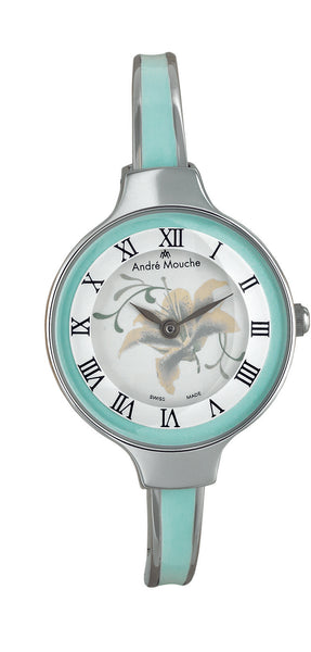 ANDRE MOUCHE - Gracia 18cts Palladium Plated Handmade Women Swiss Watch in Green - My Super Hot Deals