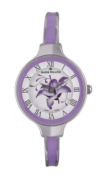 ANDRE MOUCHE - Gracia 18cts Palladium Plated Handmade Women Swiss Watch in Purple - My Super Hot Deals