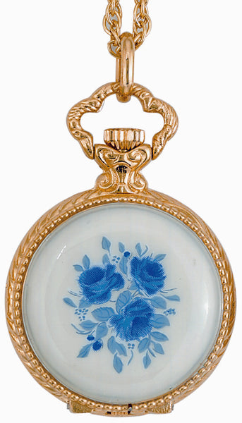 ANDRE MOUCHE - Renaissance Rose 18cts Gold Plated Handmade Women Swiss Pendant Watch in White/Blue - My Super Hot Deals