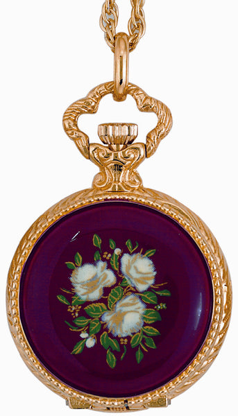 ANDRE MOUCHE - Renaissance Rose 18cts Gold Plated Handmade Women Swiss Pendant Watch in Red - My Super Hot Deals