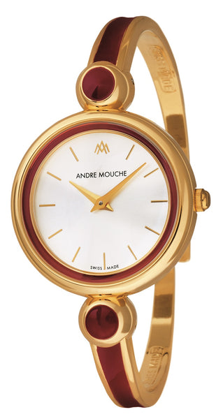 ANDRE MOUCHE - Aria 18cts Gold Plated Handmade Women Swiss Watch in Red - My Super Hot Deals
