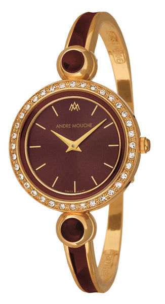 ANDRE MOUCHE - Aria Crystal 18cts Gold Plated Handmade Women Swiss Watch in Brown - My Super Hot Deals