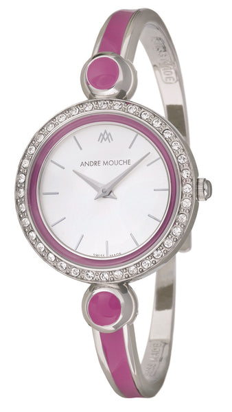 ANDRE MOUCHE - Aria Crystal 18cts Palladium Plated Handmade Women Swiss Watch in Purple - My Super Hot Deals