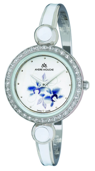 ANDRE MOUCHE - Aria Crystal Flower 18cts Palladium Plated Handmade Women Swiss Watch in White/Blue - My Super Hot Deals