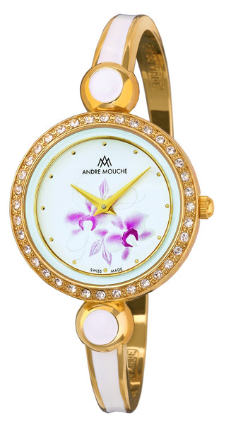 ANDRE MOUCHE - Aria Crystal Flower 18cts Gold Plated Handmade Women Swiss Watch in White/Pink - My Super Hot Deals