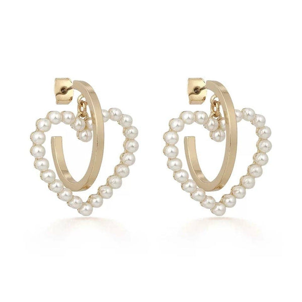 Heart Shape Pearl Hoop Earrings - My Super Hot Deals