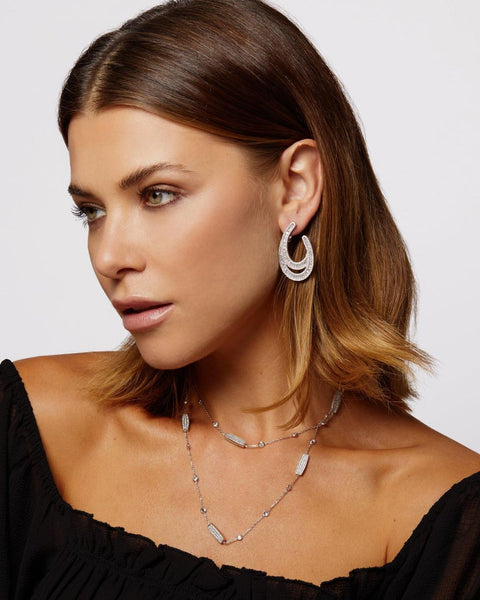 CHLOE DIAMOND BY THE YARD WITH PAVÉ BLOCKS NECKLACE - My Super Hot Deals