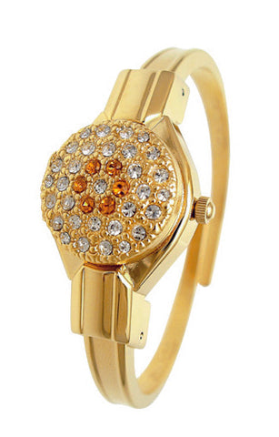 ANDRE MOUCHE - Round Crystal, Topaz, 18cts Gold Plated Handmade Women Swiss Watch - My Super Hot Deals