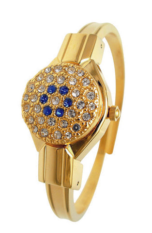 ANDRE MOUCHE - Round Crystal, Sapphire, 18cts Gold Plated Handmade Women Swiss Watch - My Super Hot Deals