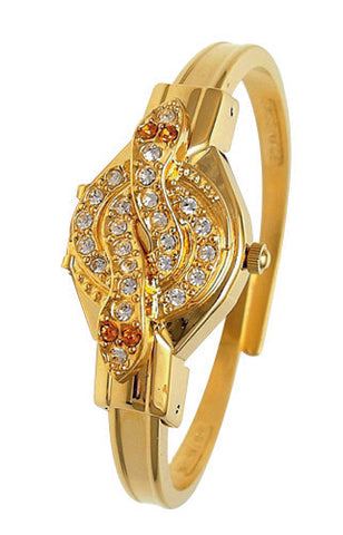 ANDRE MOUCHE - Snake Crystal, Topaz, 18cts Gold Plated Handmade Women Swiss Watch - My Super Hot Deals