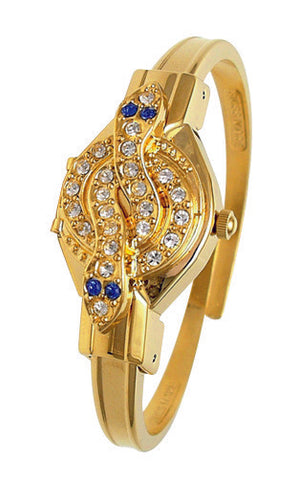ANDRE MOUCHE - Snake Crystal, Sapphire, 18cts Gold Plated Handmade Women Swiss Watch - My Super Hot Deals