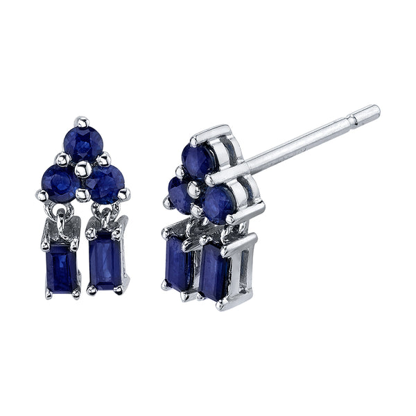 BORGIONI - 18k White Gold Mixed Cut Pyramid Drop Blue Sapphire Studs .74cts - My Super Hot Deals