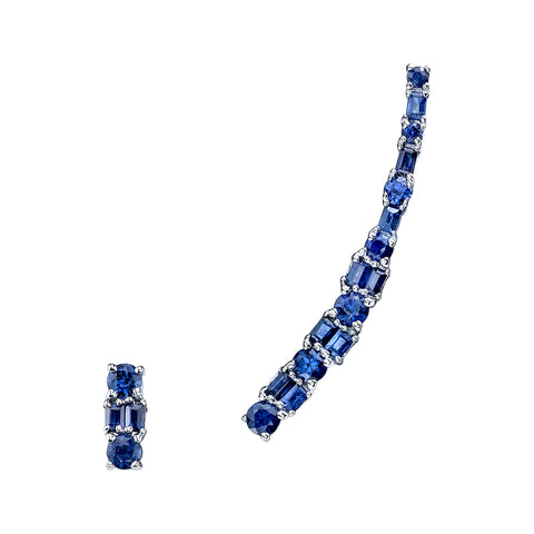 BORGIONI -  18k White Gold Mixed Cut Blue Sapphire Ear Climber & Stud .86cts Blue Sapphire - My Super Hot Deals