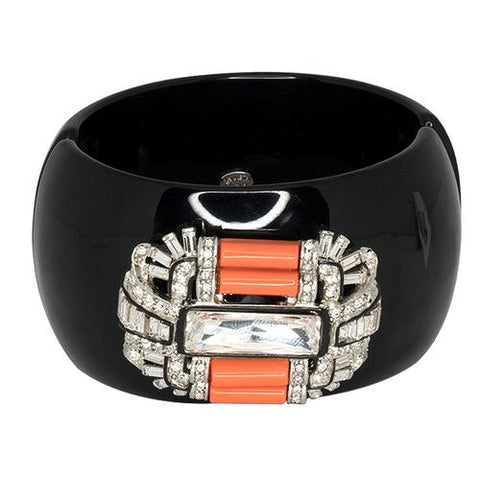 KENNETH JAY LANE Black & Coral Deco Cuff - My Super Hot Deals