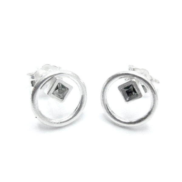 "Sterling Silver ""Eternity Circle"" Stud with ""Diamond"" Swarovski"" Crystals - My Super Hot Deals"