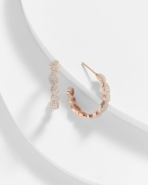 ANNABEL MICRO PAVE WAVE HOOP EARRINGS - My Super Hot Deals