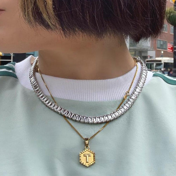 EMERALD CUT TENNIS NECKLACE WITH WHITE STONES - My Super Hot Deals
