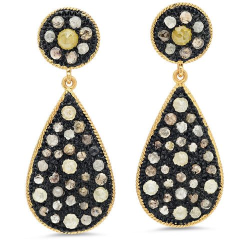 BAVNA  18 K Gold/Silver Diamond Drop Earring - My Super Hot Deals