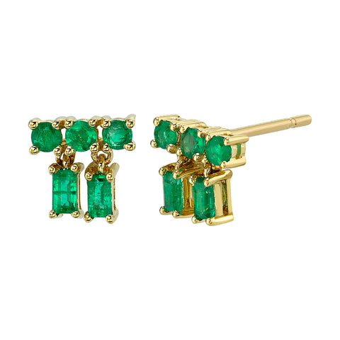 BORGIONI - 18k Yellow Gold Mixed cut Drop Emerald Stud .51cts Emerald - My Super Hot Deals