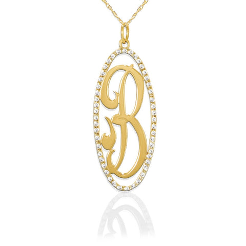 JANE BASCH  14K Gold Oval Diamond Pendant - My Super Hot Deals