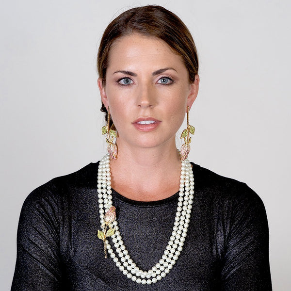 3 Row Pearl And Flower Necklace - Kenneth Jay Lane - My Super Hot Deals