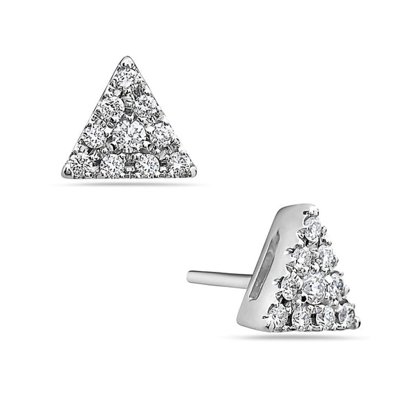 MADE IN ITALY 18K CLUSTER ILLUSION TRIANGLE STUD EARRING - My Super Hot Deals