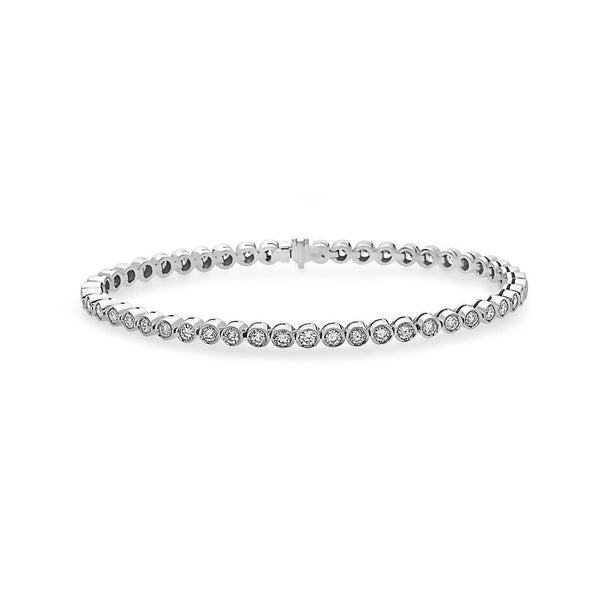 MADE IN ITALY 18K ROUND BEZEL CLASSIC TENNIS BRACELET - My Super Hot Deals