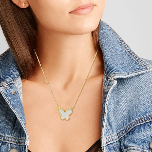 Butterfly : Joyful Transformation, Mother Of Pearl, Pure Silver 22k Gold Filled - My Super Hot Deals
