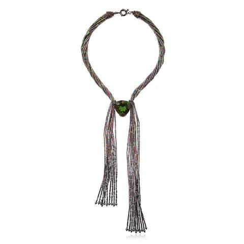 M.C.L. By MATTHEW CAMPBELL LAURENZA Sterling Silver Tassel Necklace With Light Purple Glitter Enamel, Hematite, Rainbow Hematite Beads & Hematite Beads - My Super Hot Deals
