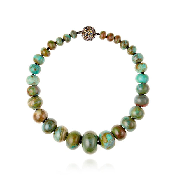M.C.L. By MATTHEW CAMPBELL LAURENZA    Beaded Statement Necklace With Sterling Silver, Mixed Sapphires & Agate Beads - My Super Hot Deals