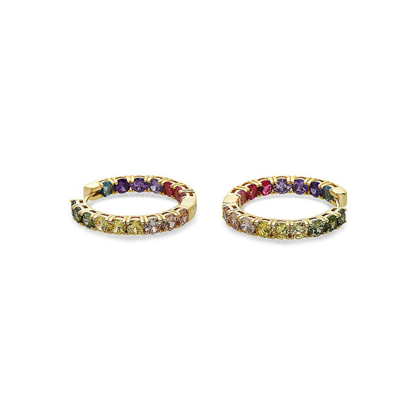 MULTICOLORED GEMSTONES HOOP EARRINGS IN-STERLING SILVER - My Super Hot Deals
